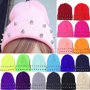 Unisex Stud Studded Rivet Beanie Hat Plain Knit Ski Cap Winter Cuff Wrap Blank | eBay