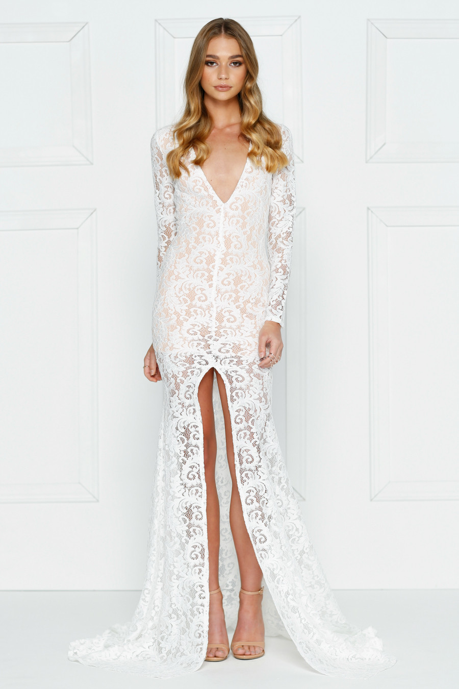 JASMYNE White Lace Mermaid Formal Gown Dress by Alamour The Label ...