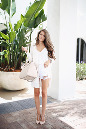 southern curls and pearls,blogger,cardigan,shorts,bag,jewels,make-up,all white everything,white bag,denim shorts,ripped shorts,tank top,white tank top,nude heels