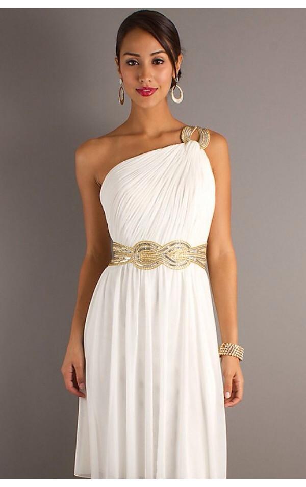 Elegant Pure White Sash Pleated and Drape Chiffon Prom Dress