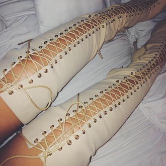 shoes cream high heels thigh highs lace up heels