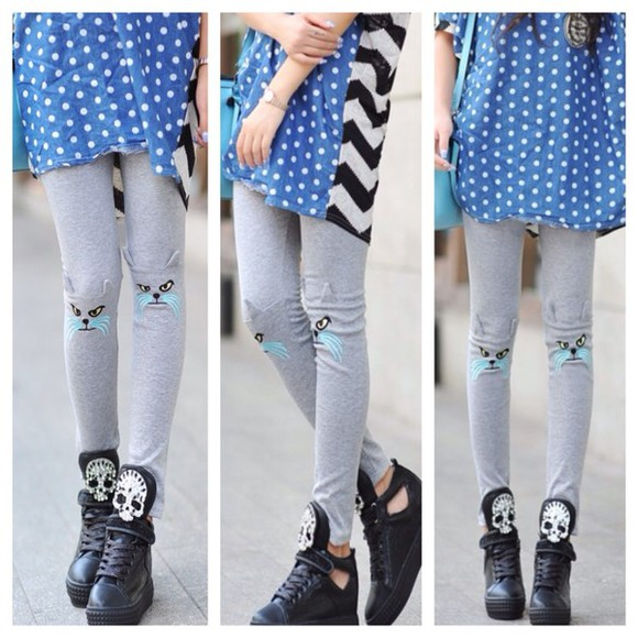 casual pants cat leggings leggings trendy