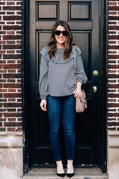 sequins and stripes,blogger,top,shoes,bag,sunglasses,make-up,shoulder bag,blouse,pumps,high heel pumps