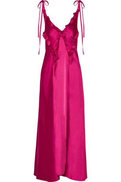 dress satin dress ruffle satin magenta