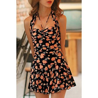 swimwear floral summer spring one piece swimsuit girly cute trendsgal.com