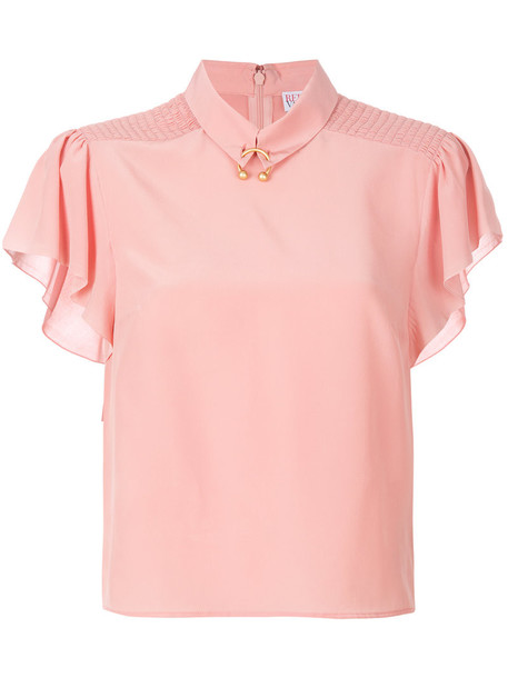 RED VALENTINO blouse women silk purple pink top