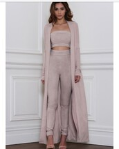 pants,crop tops,dusty pink,outfit,coat,trench coat,leggings,high waisted