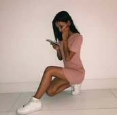 dress,white,shoes,pink,nike shoes