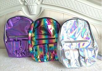 bag fashion trendy silver purple backpack monochrome rainbow metallic cool teenagers back to school it girl shop