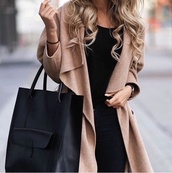 bag,black bag,camel oversized coat,coat,classy,lovely,black,jacket,beige,fashion,long,long coat,cardigan,beige cardigan,blonde hair,style,london,brow,pretty,gray or brow,shoes,city outfits,brown,brown jacket,long jacket
