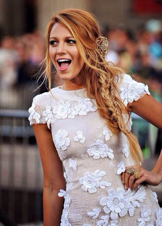 dress white white dress plait flowers hair accessory blake lively gossip girl style fab like blonde hair white lace dress bubble princess princess dress beautiful glamour