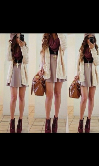 scarf sweater cardigan white cardigan maxi cardigan knitted cardigan skirt short skirt pink skirt fall fashion fall skirt