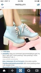 shoes,heels,pastel,platform shoes,pastel goth,pastel blue,blue,boots,white shoe laces,white sole,heel boots