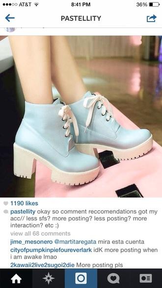 shoes heels pastel platform shoes pastel goth pastel blue blue boots white shoe laces white sole heel boots