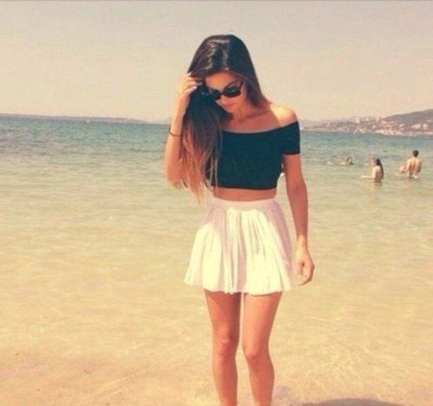 Skirt white white skirt summer outfit fashion beach cute - Wheretoget