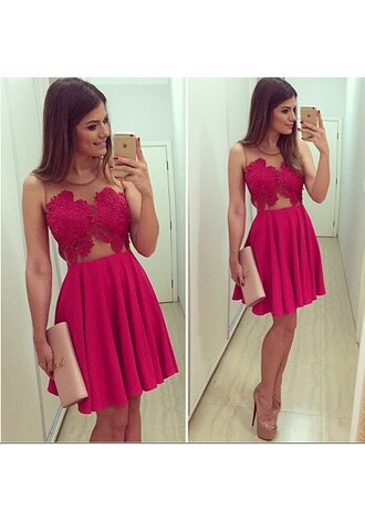 dress lace illusion pink red short homecoming dress cheap homecoming dresses cut-out beautiful sexy two-piece two piece prom dresses cute homecoming dresses beautiful homecoming dresses homecoming dresses under 100 cheap homecoming dresses 2015 homecoming dresses 2016 sexy homecoming dresses