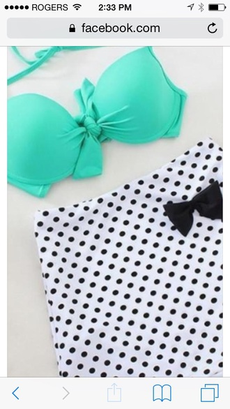 swimwear high waisted poka dot teal large
