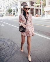 shoes,booties,ankle boots,mini dress,ruffle dress,long sleeve dress,crossbody bag,sunglasses