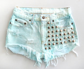 blue shorts,shorts,studs,acid wash,light blue,ripped shorts,beautiful,blue,denim,ripped,white,denim shorts,short,studded shorts,High waisted shorts,grunge,hippie,short shorts