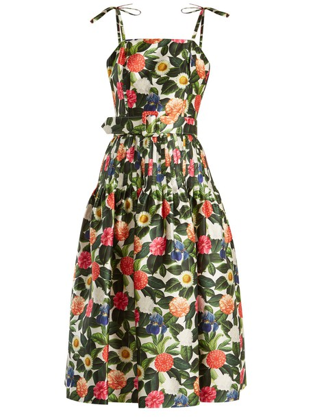 oscar de la renta dress floral cotton print silk green