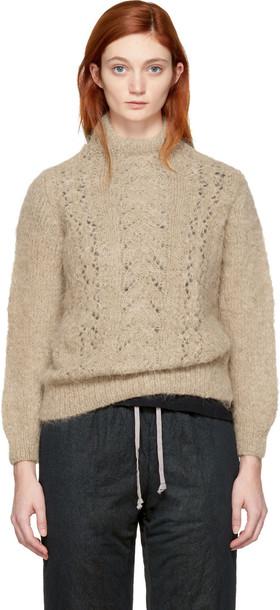 Tricot Comme Des Garçons turtleneck back beige sweater