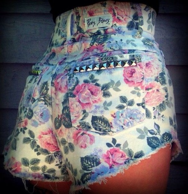shorts floral clothes summer High waisted shorts studded shorts cut off shorts vintage cute girly