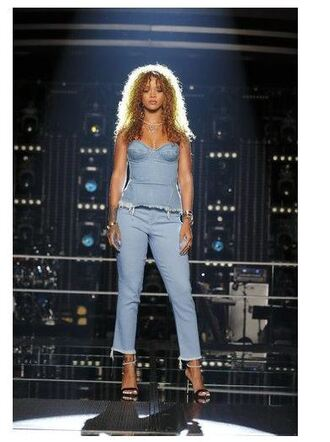 jeans top bustier denim sandals rihanna shoes blouse
