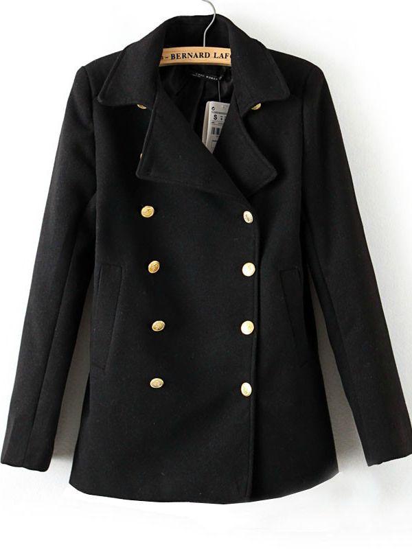 Black suit collar long sleeve sheath woollen coat : kisschic.com