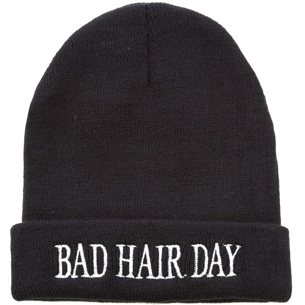 Black Bad Hair Day Beanie - Polyvore