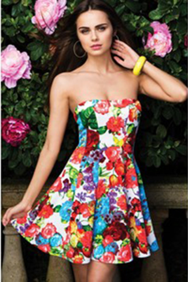 dress flare floral colorful multicolor bodycon dress sweetheart dress