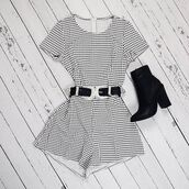 romper,black and white,checkered,cute playsuit,peppermayo