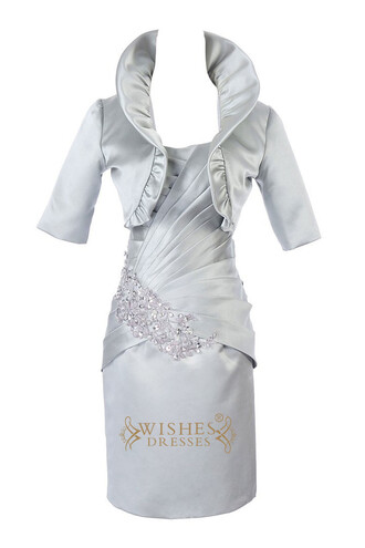 dress mother of the bride dress silver mother of the dress with sleeves half sleeves mother gown taffeta mother gown short mother of the bride dress