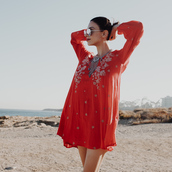 kris chérie,blogger,dress,sunglasses,jewels,red mini dress,red dress,embroidered dress,embroidered,long sleeves,necklace,statement necklace,silver sunglasses,mirrored sunglasses
