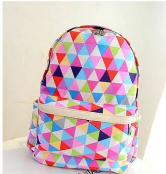 bag rainbow backpack colorful back to school pink blue green cute trendy cool it girl shop