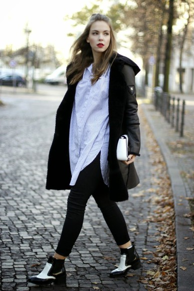 blogger sunglasses bag gold schnee shoes striped shirt coat
