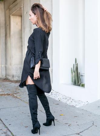 dress black dress tumblr shirt dress mini dress boots black boots over the knee over the knee boots all black everything bag shoes