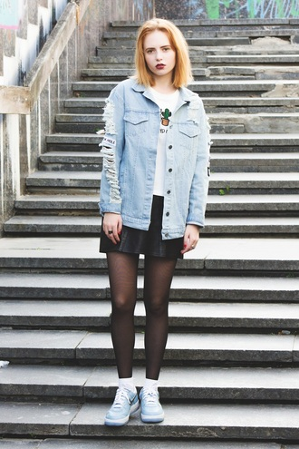 kristina magdalina blogger denim jacket ripped leather skirt hipster