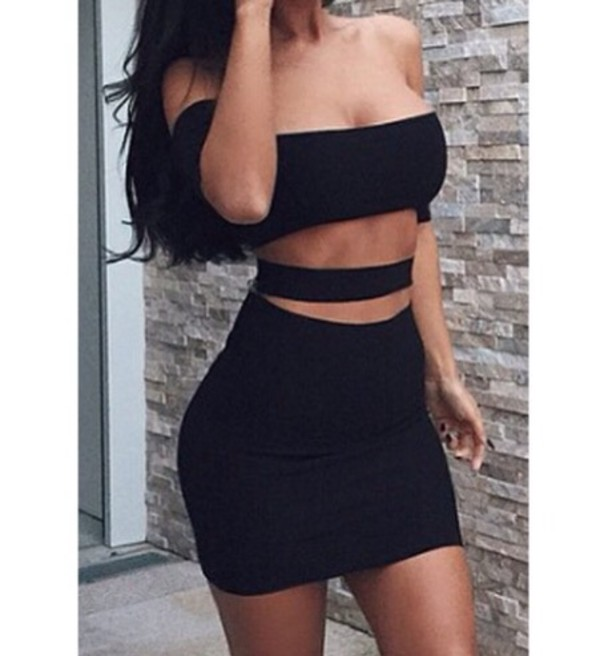 dress black little black dress black dress sexy dress sexy party dresses style cut-out dress tight short dress bodycon dress bodycon off the shoulder dress party dress black skirt hair stylish tumblr