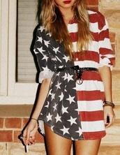 dress,american flag,red white and blue,stars and stripes,patriotic dress,american flag shorts,blouse,usa,cute,clothes