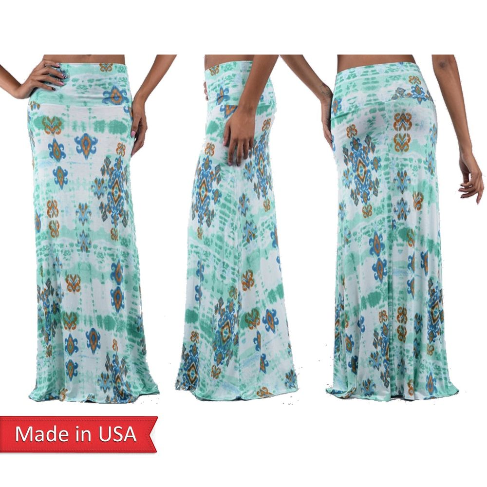 Mint Color Tie Dye Baroque Print Summer Boho Hippie Gypsy Long Maxi Skirt USA