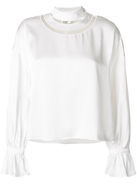 Fendi - circular neck detail blouse - women - Polyamide/Acetate/Viscose - 40, White, Polyamide/Acetate/Viscose