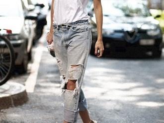 jeans boyfriend jeans holes torn jeans