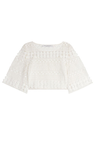 top peasant top lace crochet white
