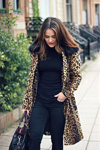 the little magpie blogger leopard print coat black jeans