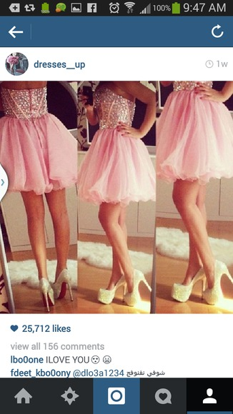 pink dress glitter shoes