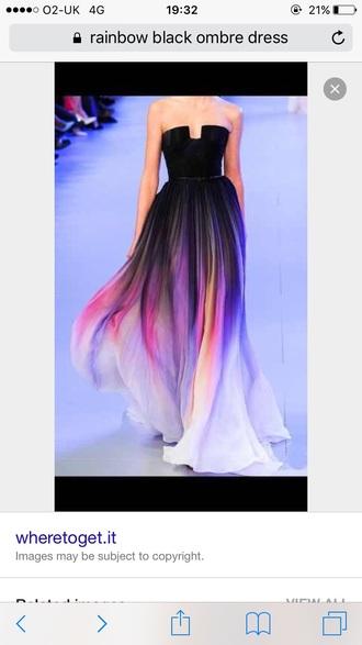 dress rainbow rainbow ombre long dress black and rainbow ombre dress ombre