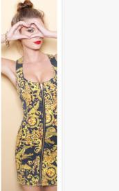 dress,yellow dress,printed bodycon,zipper dress,navy dress,printed dress,bodycon,bodycon dress,zip
