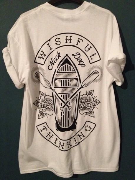 t-shirt wishful thinking neck deep merch shirt top white black black and white band t-shirt band tumblr band alternative ayy