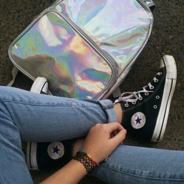 86c2d25ec4f2 bag holographic bag silver school bag converse
