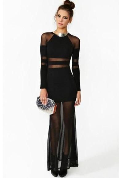 grunge rock goth black maxi dress sheer mesh long sleeves long dress